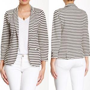 Lucky Brand Black & White Striped Blazer